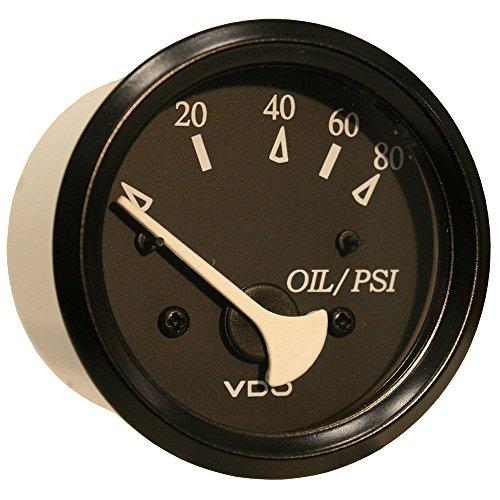 Preisvergleich Produktbild VDO Allentare Black 80PSI Oil Pressure Gauge - Use w / Marine 240-33 Ohm Sender - 12V - Black Bezel