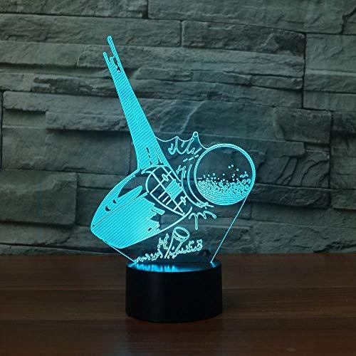 3D Nachtlicht 3D führte bunte Steigungs-Atmosphäre kreative Lampe Kick Golf Ball Acryl Tischlampe Nachtlicht Traum Schlafzimmer Dekoration