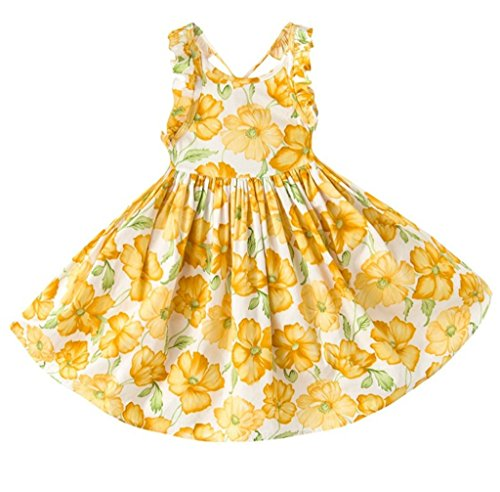 YoMarket Little Girl Dress,Sleeveless Cotton Casual Summer Clothes Floral Sundress Straps Beach Skirt Suit for 1-10 Years Old Girls