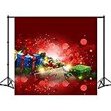 8X18ft Polyester Red Christmas Photography Backdrops Aquarell Geschenke Blätter Foto Hintergrund Studio Requisiten