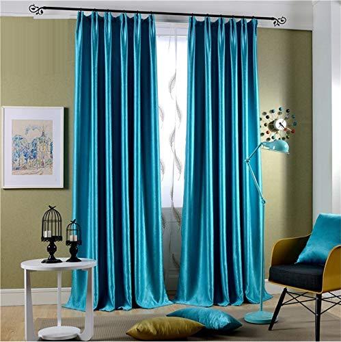 HCZHQAA Glänzender samt Blackout Vorhänge für Schlafzimmer Faux Seide blau Drapes Curtinas Dekoration Fenster Behandlungen Bleistift Pleat zerkleinert Küche Vorhänge 2 X 46 W x 72