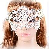 Yazilind Joyería de lujo Pretty Diseño Negro forma de la flor blanca del cordón ajustable Hueco media máscara para la Mujer