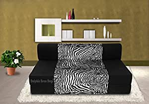 Dolphin Zeal Two Seater Sofa Cum Bed  (Black and Zebra)