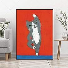 Imprimir En Lienzo Cuadro De Pintura De Lienzo Gato De Dibujos Animados Animal Arte De La