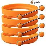 TaleeMall Molde de Silicona Forma para Anillo Huevos Frito (Paquete de 4 Naranja)