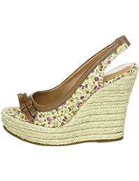 VIA UNO - Zapatos de vestir de tela para mujer Marrón flowery camel