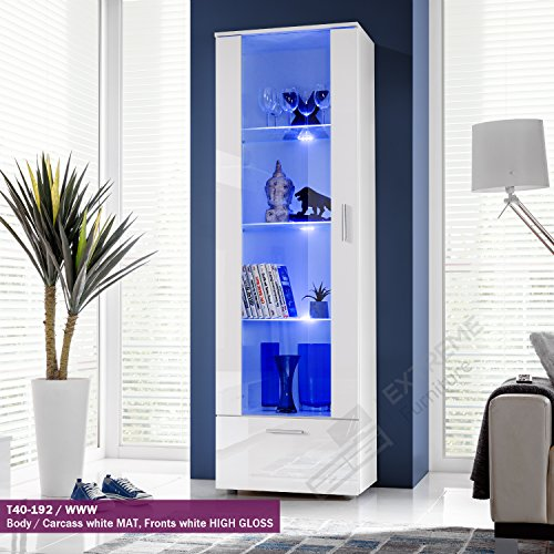 Tall Display Cabinet Modern Design Front Transparent Glass  T40 192cm   WWW Living Room Display Cabinets  Amazon co uk. Living Room Display Cabinet. Home Design Ideas