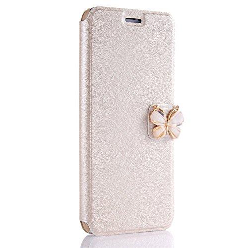 Coque pour Samsung Galaxy S7, Étui en PU Cuir XINYIYI Wallet Flip Ultra Slim Housse de Protection Fonction Stand Carte Slot Case avec Diamant Strass Papillon Fermeture Magnétique- Or