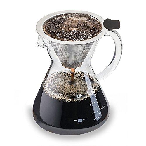 Luxebell Pour Over Kaffeemaschine 500ml Crystal Drip Kaffee Pitcher mit Edelstahl Filter