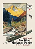 World of Art Vintage-Poster, USA/Kanada-Reisemotiv Travel by Train and Visit Your National Parks, 250 g/m², Hochglanz, Nachdruck, A3
