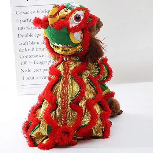 Lion Kostüm Dance - DOGCATMM Lustige Haustier Hund Kleidung Lion Dance Cat Kostüm Für Kleine Mittlere Hunde Corgi Neujahr Traditionelle Kleidung Bulldog Dress Up