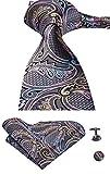 Set mit Manschettenknöpfen, Krawatte und Taschentuch von Hi-Tie aus Jacquard-Seidengewebe mit Paisleymuster Gr. Einheitsgröße, grau
