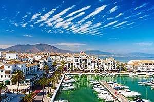 Vista sulla costa del sol Harbor e città Spagna Europa Home Decor Poster Da Parete 63x 43cm