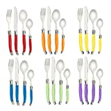 FlyingColors Laguiole Stainless Steel Flatware Set. MultiColor Handle, Gift Box, 24 Pieces