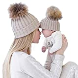 Gorros de punto Sannysis 2PCS gorro de invierno para madre y bebé (Caqui)