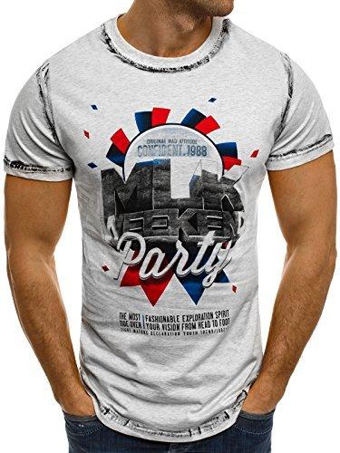 OZONEE Herren T-Shirt mit Motiv Kurzarm Rundhals Figurbetont J.STYLE SS028 Grau