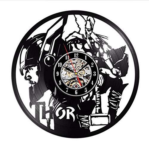 JIANGRC Schallplatte Vinyl Wanduhr Modernes Design Film Thema Thor Marvel Comics Uhren Wanduhr Home Decor Geschenk Für Freund (Home Marvel Decor)