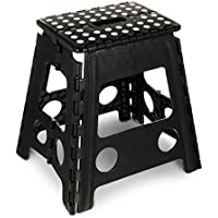 Hillington ® Folding Step Stool – Compact and Lightweight Anti Slip Stepping Stool - Ideal for Use around the Home and Workplace - Folds Flat with Carry Handle for Easy Storage and Transport (Large)