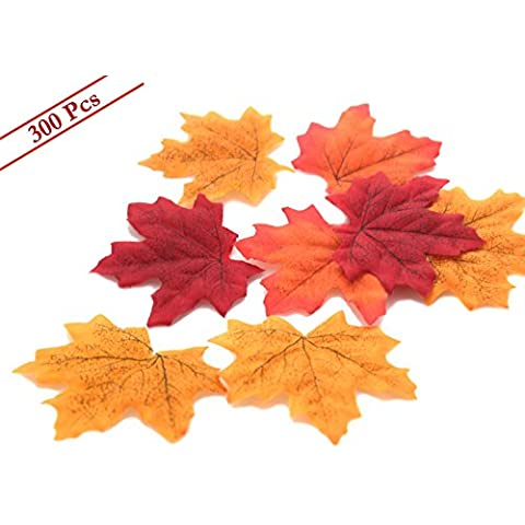 Circa 300 Pezzi Assortiti atificial foglie d' acero autunno caduta muticolor Mixed liftlike Outdoor matrimoni e feste countyard interni casa decorazioni (acero leaves-300pcs) Maple Leaves-300pcs