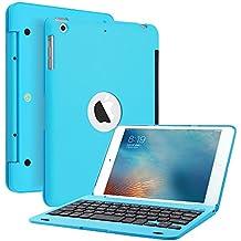 KVAGO funda folio ultra slim inalámbrico portátil Bluetooth Clamshell–Teclado para Apple iPad Mini de 7,9(32014versión/Mini 2Retina Display–Teclado de aleación de aluminio transporte funda con tapa + lápiz capacitivo + HD Protector de pantalla azul azul