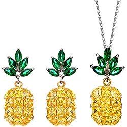 MagiDeal Conjunto de Collar Colgante Pendientes Hecho de 5A Circón Forma Piña Joyería Elegante Encantador - Amarillo