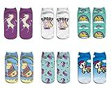 LegendsChan 6 Paar Damen Mädchen Cartoon Einhorn Socken Weich Elastisch Sport Socken Strümpfe Füßlinge Bunt Motiv (6 Paar-3)