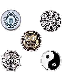 Morella señorías small Click-Button Set 5 pcs botones 12 mm diámetro Yin Yang de búho y circonios