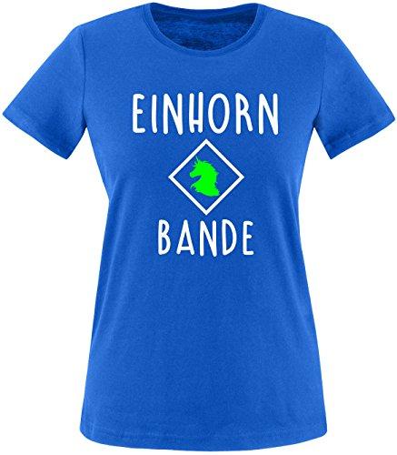 EZYshirt® Einhorn Bande Damen Rundhals T-Shirt Royal/Weiss/Neongr