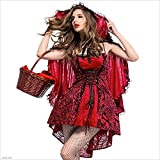 AFCITY Halloween Party Cosplay Costume Womens Halloween Costume Gothic Style Stage Costuming Ladies Little/Small Red Riding Hood Cape Fancy Dress Up Party Fancy Clothing Outfit (Size : L)