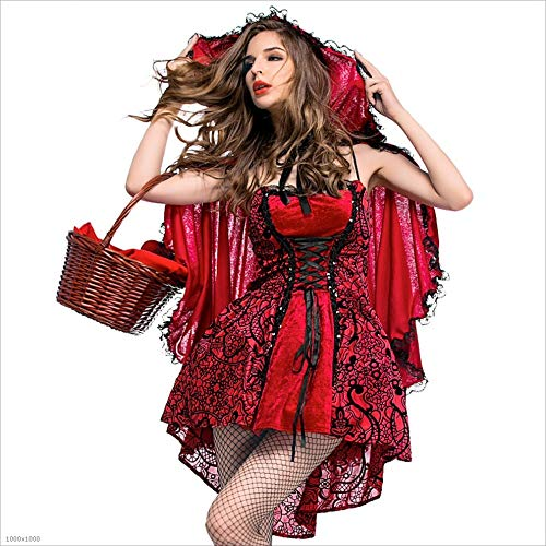 Gimitunus Komisch Womens Halloween Kostüm Gothic Stage Kostümieren Damen Rotkäppchen Cape Fancy Dress up Party (Größe : XL)