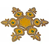 Buy Kalash Design Acrylic Yellow Rangoli Kolam Decorated With Silver Coloured Stones - 7 Pieces Set