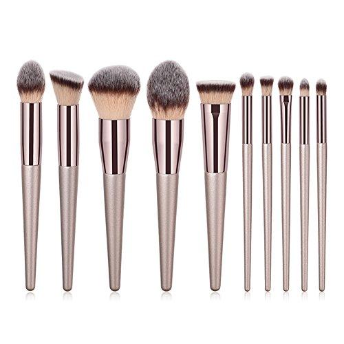 Chakil 10pcs Fundación Polvo Pincel Cepillo de Cejas Pincel de Ojos Maquillaje Brochas Makeup Brush Set Profesional Pincel de Maquillaje Maquillaje del Kit