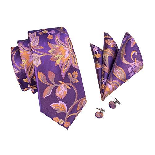 FDHFC Design Royal Purple Tie Set Mode 100% Seide Jacquard Gewebte Krawatten Einstecktuch Manschettenknöpfe Set Für Männer Design-krawatte Tie