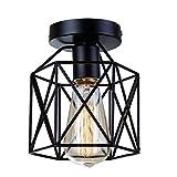 Industrie Vintage Deckenlampe Metall Deckenlampe halb Erröten-Einfassung-Licht mit 1 Lichtern Schwarz E27 Max 40W für Flur, Gang,Schlafzimmer,Esszimmer,Wohnzimmer