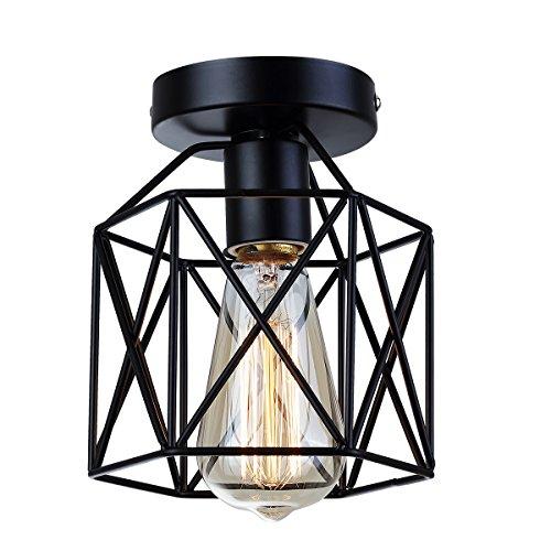 Industrie Vintage Deckenlampe Metall Deckenlampe halb Erröten-Einfassung-Licht mit 1 Lichtern Schwarz E27 Max 40W für Flur, Gang,Schlafzimmer,Esszimmer,Wohnzimmer (Eisen-finish-mini-kronleuchter)