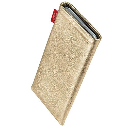 fitBAG Groove Pink Handytasche Tasche aus feinem Folienleder Echtleder mit Microfaserinnenfutter für Apple iPhone 6 Plus / iPhone 6S Plus 5,5 Zoll mit Apple Leather Case Groove Gold