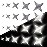 Tuqiang Vierzackige Sternform Reflektierendes Klebeband Wasserdicht Selbstklebend Für Buggy und Kinderwagen Motorradhelm Hohe Sichtbarkeit Band Sicherheit im Freien Reflektierend Aufkleber 25 Stück Weiß