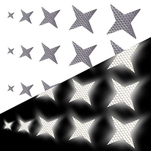 Tuqiang Forme d'étoile à Quatre Branches Bande Reflechissante Adhesive pour Casque de Moto Buggy et Poussettes Haute visibilité Ruban Sécurité extérieure Autocollant Réfléchissant 25 Pièces Blanc