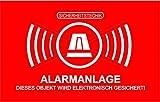5 Stück Aufkleber 'Alarm', iSecur, alarmgesichert, 50x35mm, Art. hin_047_5er_außen, Hinweis auf Alarmanlage, außenklebend für Fensterscheiben, Haus, Auto, LKW, Baumaschinen