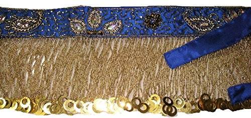 Pro Bauch Dance Performance Hip Schal Rock Coin Gürtel M L XL XXL UK 14–22 Gr. One size, Royal Blue Gold