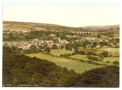 Viktorianischer Allgemeine View von ivybridge, Plymouth, England, groß, A3Größe 41von 28cm auf Leinwand; texturiertes Papier, - Tee-baum-hütte