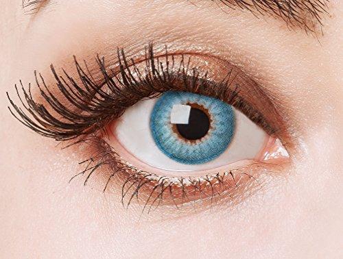 aricona Farblinsen – deckend blau - farbige Kontaktlinsen für stechend blaue Augen – bunte, farbig intensive blaue Jahreslinsen für Cosplay & Halloween