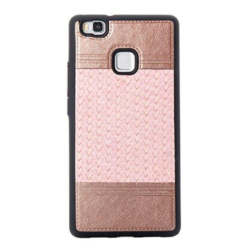 Cover Per Huawei P9 Lite, Asnlove TPU Moda Morbida Custodia Linee Intrecciate Caso Elegante Ultra Sottile Cassa Braided Stile Tessere Case Bumper Per Huawei P9 Lite - Rosa Rosa