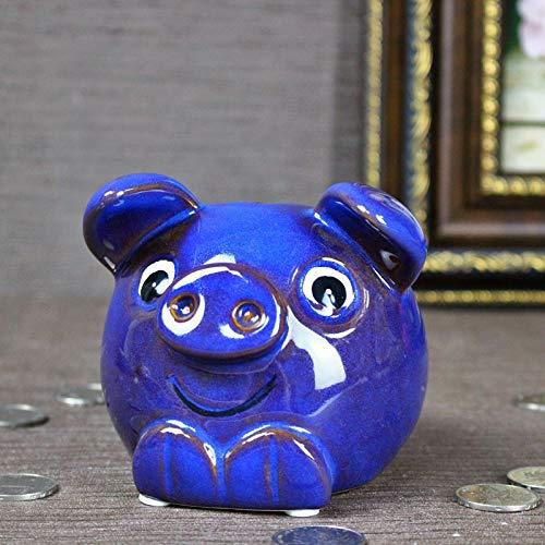 Alileo creativo oggettistica per la casa ceramica carino maiale salvadanaio ornamenti animali figurine colorate salvadanaio in miniatura arredamento per la casa regali da scrivania, blu