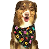 Hipiyoled Pet Bandanas Colorful Geometric Fruits and Desserts Adjustbable Collars Pet Bandana Bibs for Puppy Cats