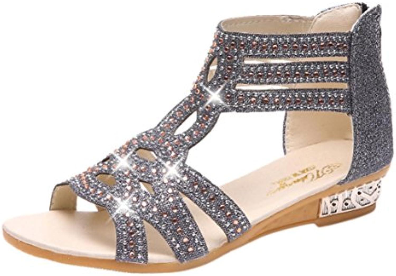 au printemps et à l'été femmes luoluoluo femmes l'été femmes fashion bouche vide cale des pantoufles de chaussures de romain diamant creu x cc0824
