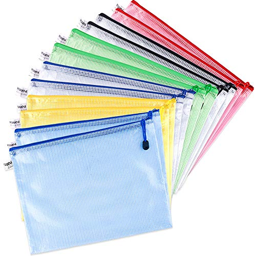 Reißverschluss Datei Taschen Mesh Dokument Kunststoff Brieftasche Taschen für Bürobedarf, Kosmetik, Rechnungen Lagerung, 6 Farben ()
