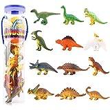 [12 Pcs] Mini Dinosaur Spielzeug Set, Zooawa realistische kleine Dinosaurier Figur Modell Spielzeug für Kinder- bunt