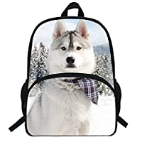 VEEWOW 16-Inch Popular Husky Printed Bagpack Animal Dog Pattern Backpack for Kids School Boys Girls (D959)