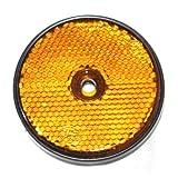 12x Reflektor mit Loch Rund 60mm e-geprüft für Anhänger Pritsche Trailer KRAD Rückstrahler Markierung Neu Otto-Harvest (Gelb)